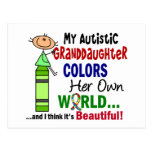 Autism COLORS HER OWN WORLD Granddaughter Post Cards