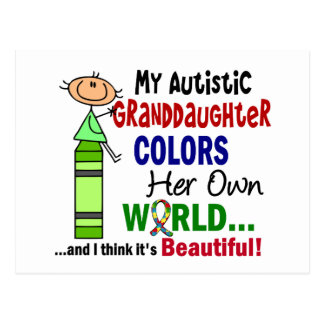 Autism COLORS HER OWN WORLD Granddaughter Postcard