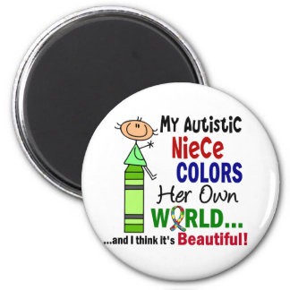 Autism COLORS HER OWN WORLD Niece 2 Inch Round Magnet