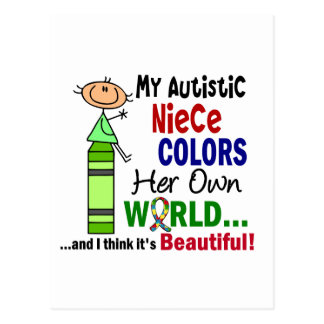 Autism COLORS HER OWN WORLD Niece Post Cards