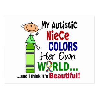 Autism COLORS HER OWN WORLD Niece Postcard