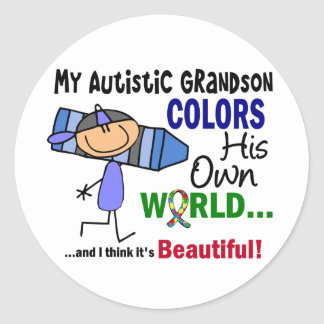 Autism COLORS HIS OWN WORLD Grandson Classic Round Sticker