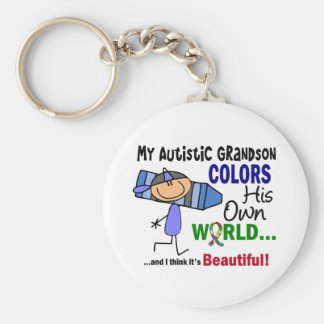 Autism COLORS HIS OWN WORLD Grandson Keychain