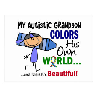 Autism COLORS HIS OWN WORLD Grandson Post Card