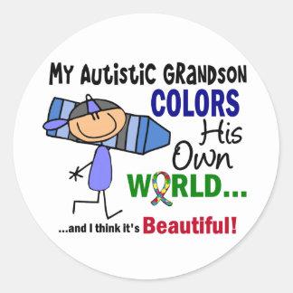 Autism COLORS HIS OWN WORLD Grandson Sticker
