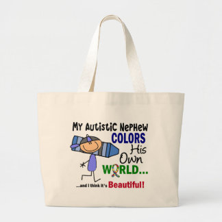Autism COLORS HIS OWN WORLD Nephew Large Tote Bag