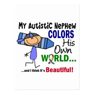 Autism COLORS HIS OWN WORLD Nephew Post Card
