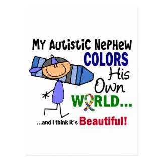 Autism COLORS HIS OWN WORLD Nephew Postcard