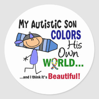 Autism COLORS HIS OWN WORLD Son Classic Round Sticker