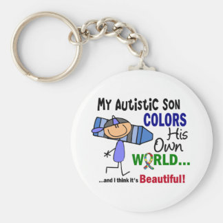 Autism COLORS HIS OWN WORLD Son Keychain