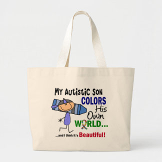 Autism COLORS HIS OWN WORLD Son Large Tote Bag