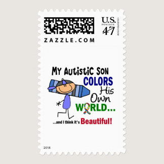 Autism COLORS HIS OWN WORLD Son Postage