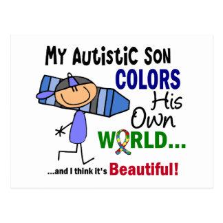 Autism COLORS HIS OWN WORLD Son Postcard