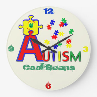 Autism Cool Beans Round (Large) Large Clock