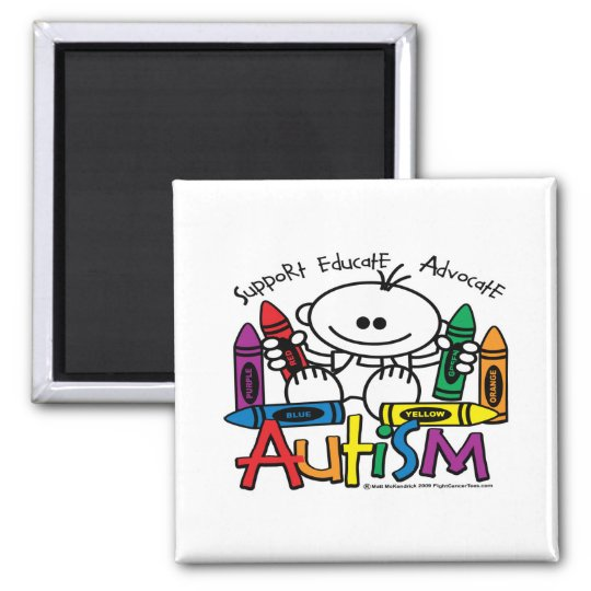 Autism Crayons 2 Inch Square Magnet