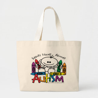 Autism Crayons Large Tote Bag