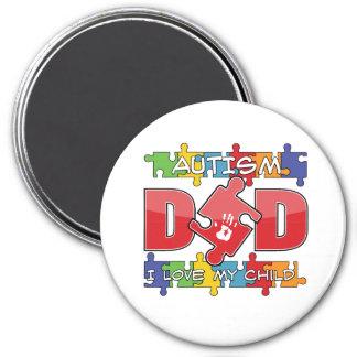 Autism Dad - I Love My Child 3 Inch Round Magnet
