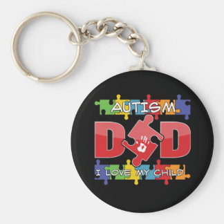 Autism Dad - I Love My Child Basic Round Button Keychain