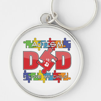 Autism Dad - I Love My Child Silver-Colored Round Keychain