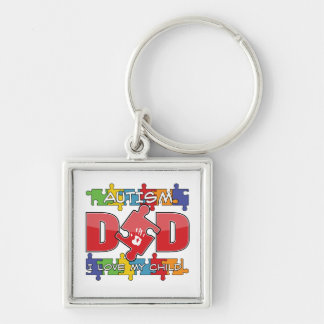 Autism Dad - I Love My Child Silver-Colored Square Keychain