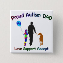 Autism Dad with Dog Button
