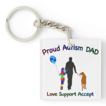Autism Dad with Dog Keychain