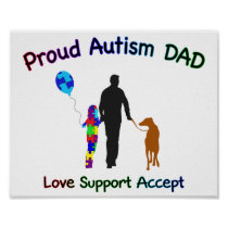Autism Dad with Dog Poster