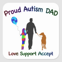 Autism Dad with Dog Square Sticker