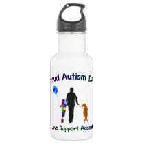 Autism Dad with Dog Stainless Steel Water Bottle