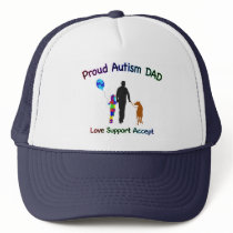 Autism Dad with Dog Trucker Hat