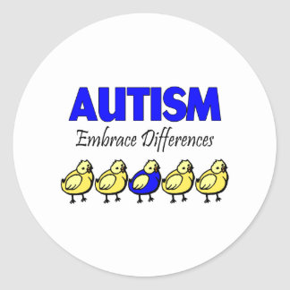 Autism Embrace Differences Classic Round Sticker