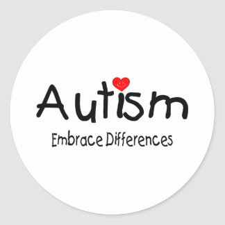 Autism Embrace Differences (Hrt) Classic Round Sticker
