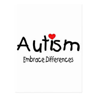 Autism Embrace Differences (Hrt) Postcard