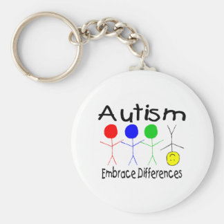 Autism Embrace Differences (People) Basic Round Button Keychain