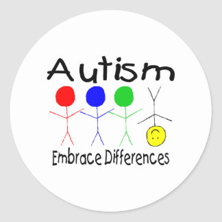 Autism Embrace Differences (People) Classic Round Sticker