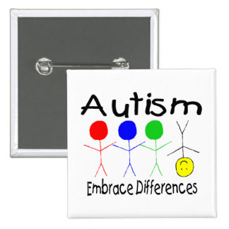 Autism Embrace Differences (People) Pinback Button