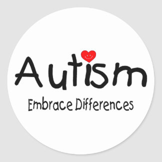 Autism Embrace Differences Round Sticker