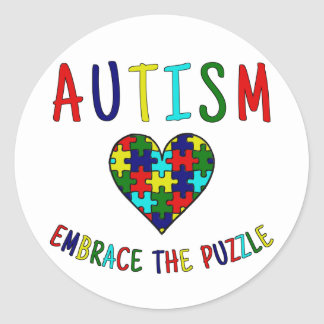 Autism Embrace The Puzzle Classic Round Sticker