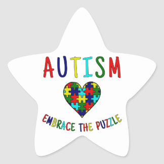 Autism Embrace The Puzzle Star Sticker