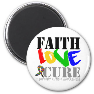 Autism Faith Love Cure 2 Inch Round Magnet