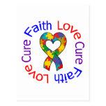 Autism Faith Love Cure Postcard