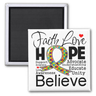 Autism Faith Love Support Refrigerator Magnets