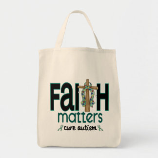 Autism Faith Matters Cross 1 Grocery Tote Bag