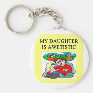 autism father of autistic daughter basic round button keychain