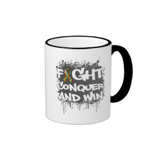 Autism Fight Conquer and Win Mugs