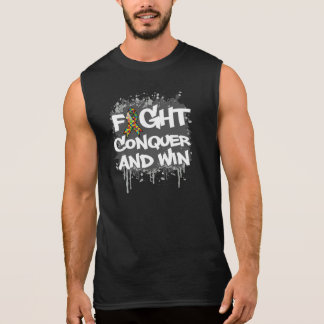 Autism Fight Conquer and Win Sleeveless Tee