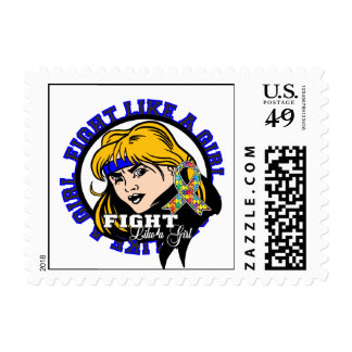 Autism Fight Like A Girl Attitude Stamp