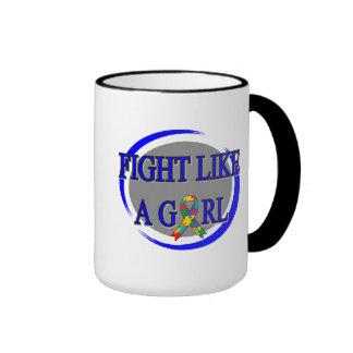 Autism Fight Like A Girl Circular Mugs