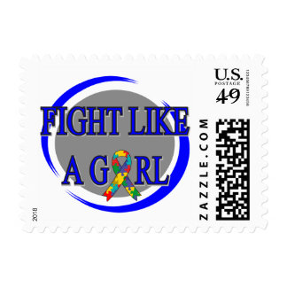 Autism Fight Like A Girl Circular Postage