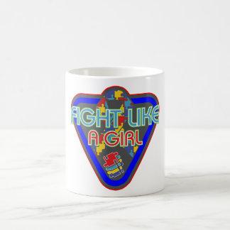 Autism Fight Like A Girl Glove Coffee Mugs